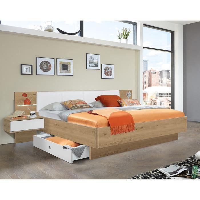 Lit futon + 2 chevets en panneaux de particules imit. chêne poutre-blanc - Dim : 180x200 cm