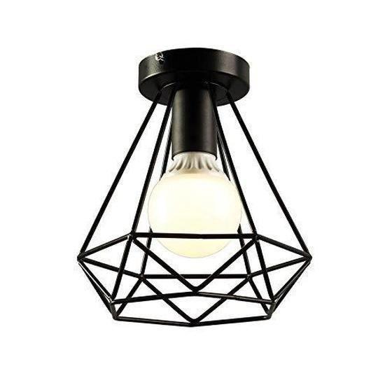 Plafonnier Industrielle en Métal Fer Cage Diamant Retro Lustre suspension luminaire pour couloir,entrée,allée, porche, chambre