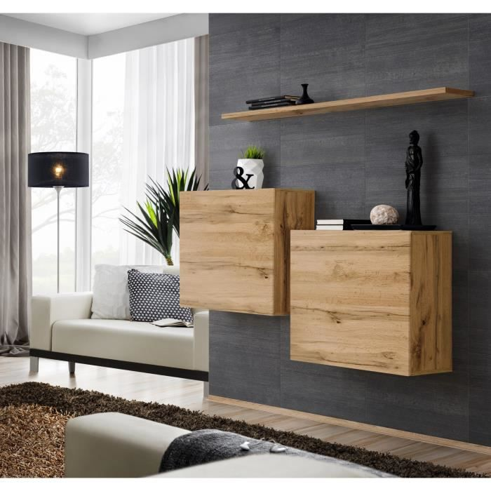 Ensemble meubles de salon SWITCH SBI design, coloris chêne Wotan. 30 Marron