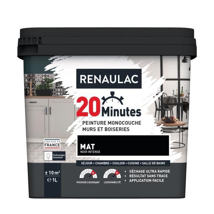 RENAULAC Peinture intérieur monocouche 20 Minutes murs et boiseries - 1L - 10 m² - Noir intense Mat