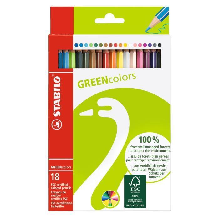 STABILO Etui carton de 18 crayons de couleur Grenncolors