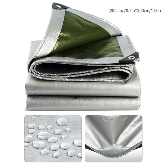 Bâche imperméable de feuille de bâche imperméable de couverture extérieure de camping - 100% imperméable et UV a protégé - 2mX3m