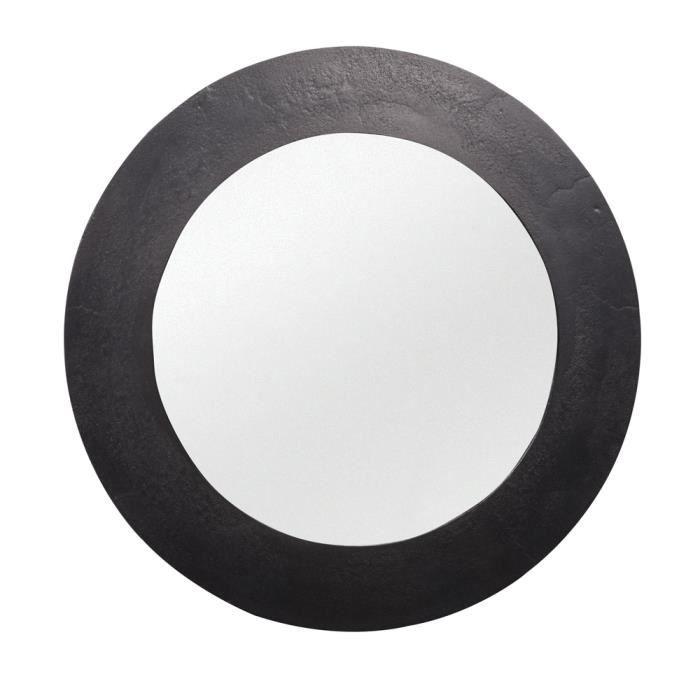 Miroir rond 74 cm nickel - Table Passion Noir