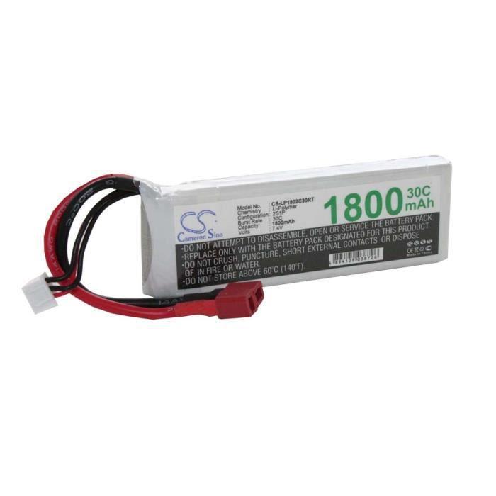 Batteries Li-Polymer LiPo 1800mAh 7.4V pour modélisme RC - divers modèles réduits : voitures de course, hélicoptères, avions, bat…