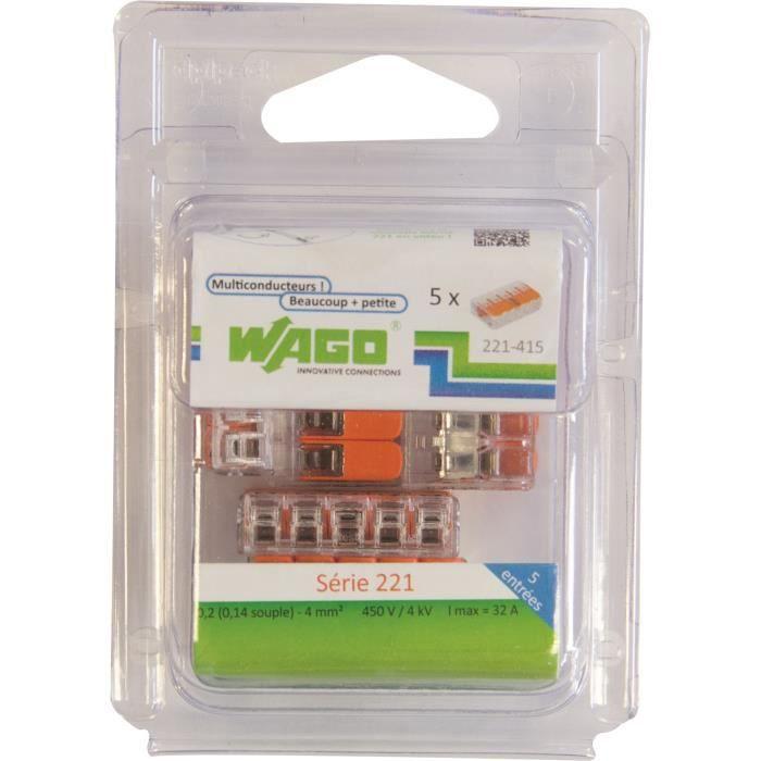 WAGO Pack de 5 Bornes de connexion universelle tous conducteurs - Type 221/ 5 entrées