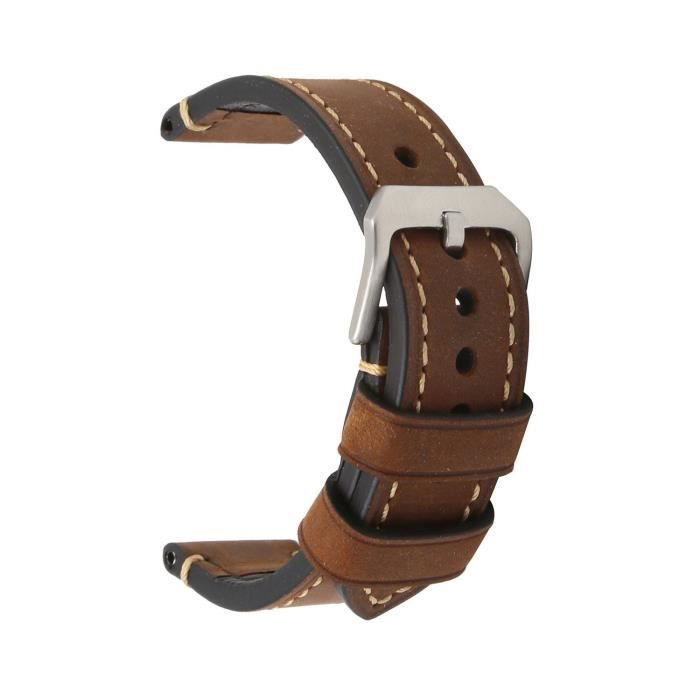 bracelet cuir brun 22mm
