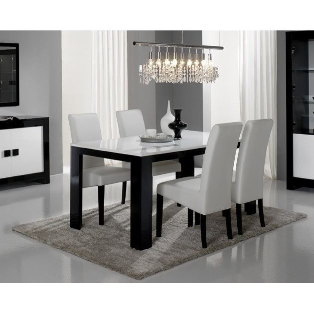 table pisa noir et blanc achat vente table a manger. Black Bedroom Furniture Sets. Home Design Ideas