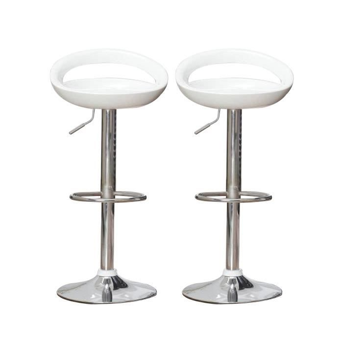 TABOURET DE BAR Lot de 2 Tabourets de Bar Réglables Blancs ABS 59-