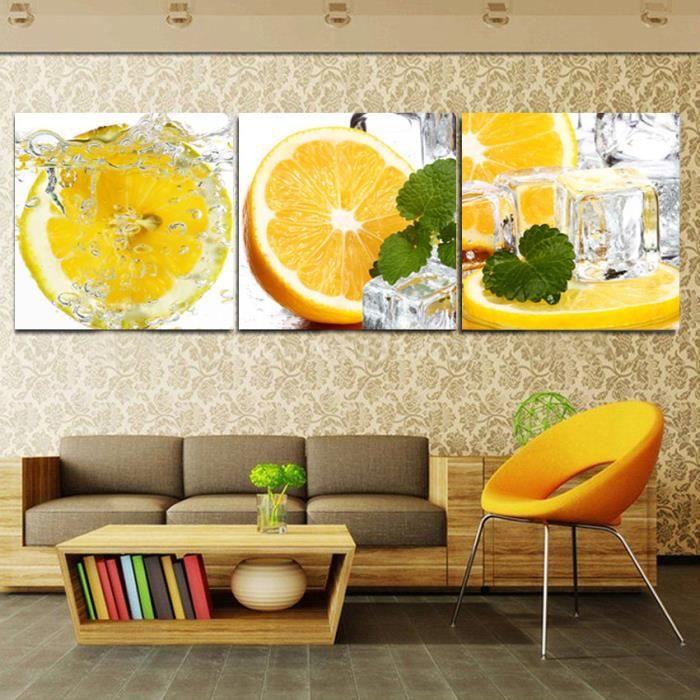 Peinture Jaune De Fruit D Eau De Citron Sur La Toile Art