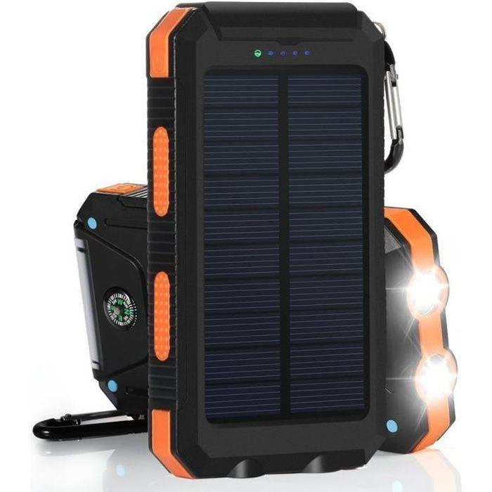 Couleur: Jaune Taille: 12000mAh Chargeur Portable pour Chargeur Solaire pour Chargeur Solaire avec Chargeur de Batterie Externe pour 2 t/él/éphones USB /à Chargement Rapide