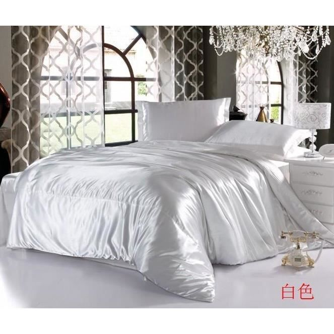 parure 2 personnes satin blanc achat vente parure de. Black Bedroom Furniture Sets. Home Design Ideas