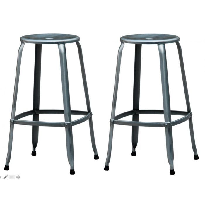 lot de 2 tabourets de bar 75cm galva nathan cou achat vente tabouret gris cdiscount. Black Bedroom Furniture Sets. Home Design Ideas