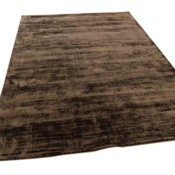 NOVATREND - Tapis de salon moderne Uni LAME - Marron chocolat - 200x290 cm