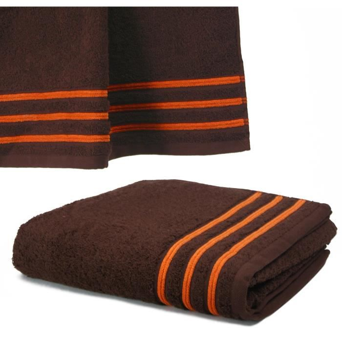 serviette de toilette 50x100 550gr chocolat orange achat vente serviettes de bain cdiscount. Black Bedroom Furniture Sets. Home Design Ideas