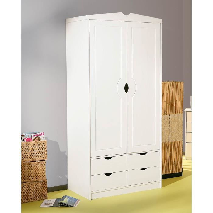armoire en pin blanc 2 portes terry achat vente. Black Bedroom Furniture Sets. Home Design Ideas