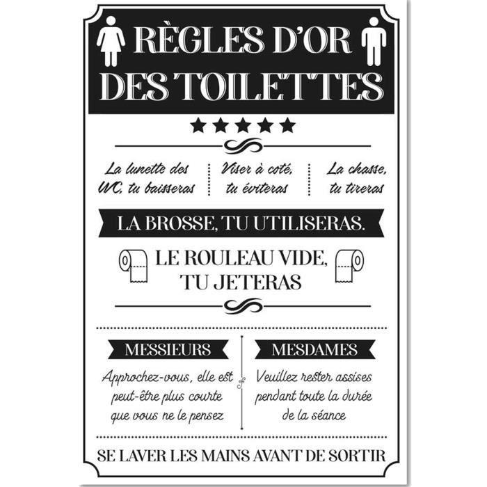 Cadre En Toile Regles Des Toilettes 2 Achat Vente Tableau Toile Cdiscount