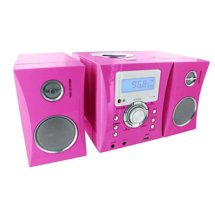 micro chaine radio cd mp3 rose stickers chaine hi fi. Black Bedroom Furniture Sets. Home Design Ideas