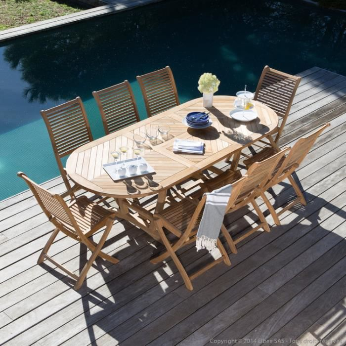 Salon de jardin Teck Brut : Table Ovale extensible 180-240cm + ...