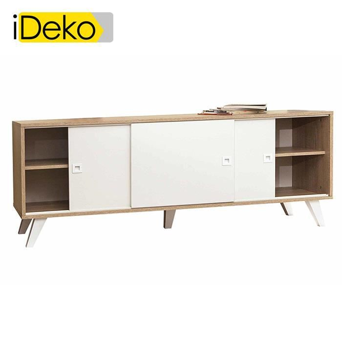 ideko buffet bas avec portes coulissantes longueur 148cm. Black Bedroom Furniture Sets. Home Design Ideas