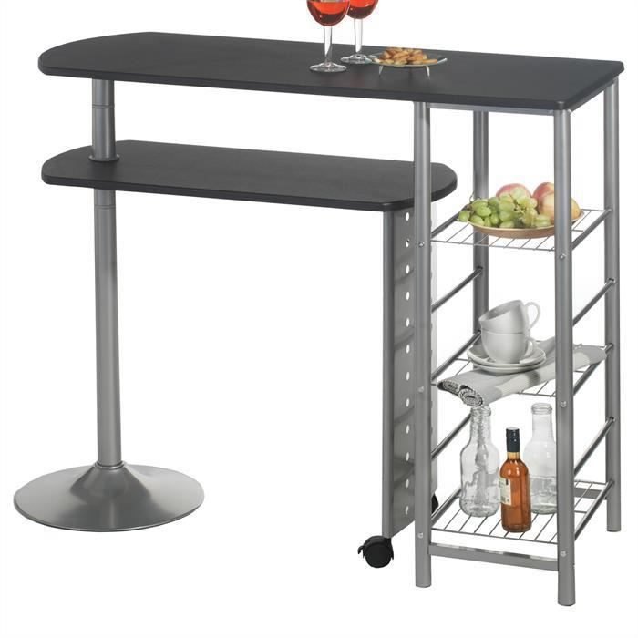 Table haute de bar josua mdf d cor noir achat vente for Achat table bar