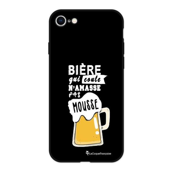 Coque iPhone 7/8 Silicone Liquide Douce noir Bière qui Coule Ecriture Tendance et Design La Coque Francaise