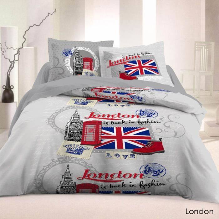 parure de lit 5 pi ces london fashion 100 coton 57fils achat vente parure de drap cdiscount. Black Bedroom Furniture Sets. Home Design Ideas