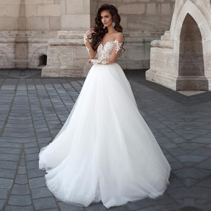 Robe de Mariage Mariée Traîné Col Bateau