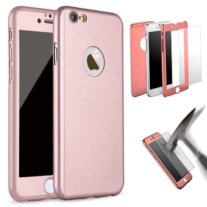 coque integrale iphone 6 6s rose verre trempe