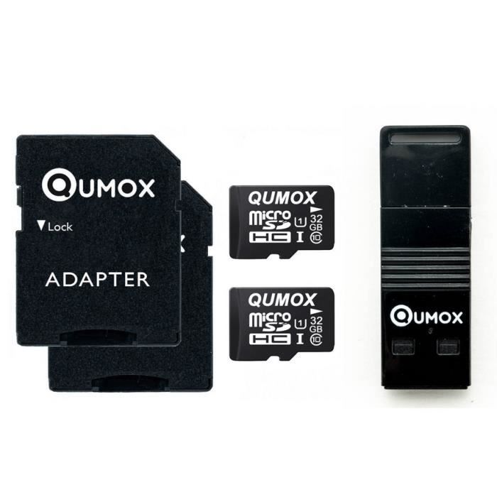 2x qumox 32go 32g 32gb micro sd classe 10 uhs i avec lecteur usb otg achat vente carte. Black Bedroom Furniture Sets. Home Design Ideas