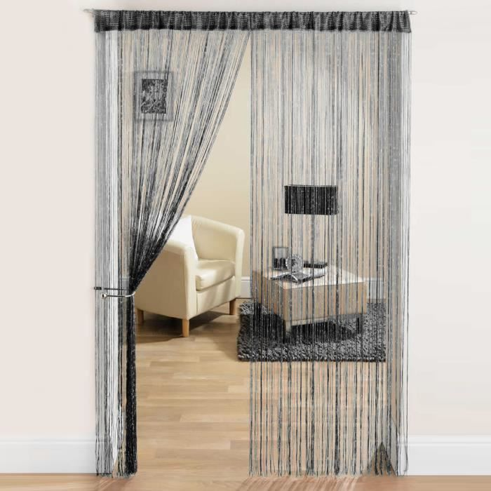 rideau fil paillettes frange spaghetti pour porte fen tre taille 200x100cm noir achat. Black Bedroom Furniture Sets. Home Design Ideas