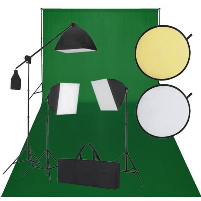 kit photo 3 softbox fond vert et r flecteur achat. Black Bedroom Furniture Sets. Home Design Ideas