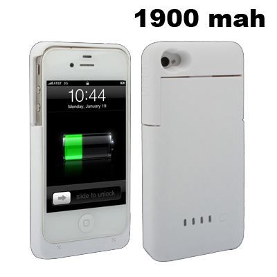 batterie coque iphone 4 4s 1900 mah blanche achat. Black Bedroom Furniture Sets. Home Design Ideas