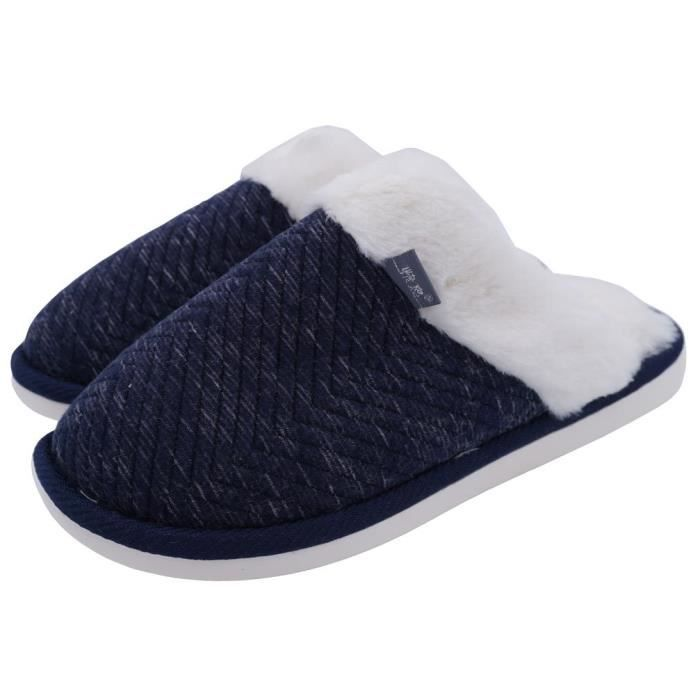 Cozy Embossed House Cotton Slippers Fur Lining Warm Winter Slippers MLIX9 Taille-40 1-2