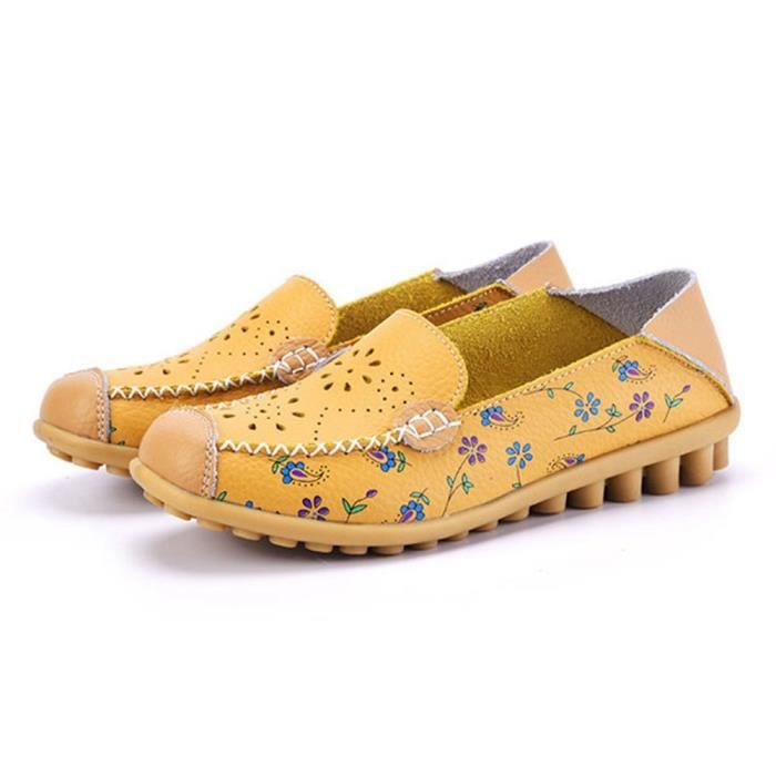 Floral Print Hollow Out Driving Loafers Leather Slip On Flat Shoes V549V Taille-38