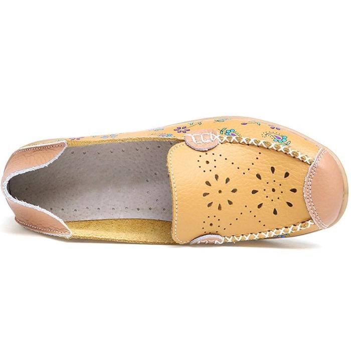 Mocassins en cuir Casual Driving Mocassins Flats Chaussures femme YFJ3G Taille-38 Oe7vCqSAmI