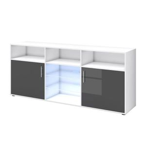 BUFFET - BAHUT  KORA Buffet bas avec LED contemporain gris brillan