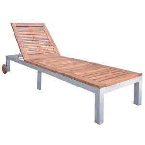 CHAISE LONGUE YAJ Chaise longue d'extérieur Bois d'acacia solide
