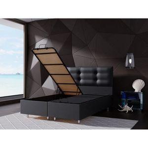 STRUCTURE DE LIT PERLA Lit Coffre Noir  160x200 cm avec Sommier + T