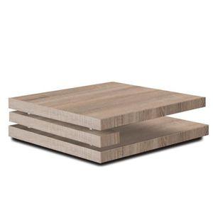 TABLE BASSE Table basse carrée couleur chêne clair design FLAP
