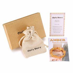 COLLIER AMBRE Bracelet de cheville Bébé en Ambre Véritable(Lemon