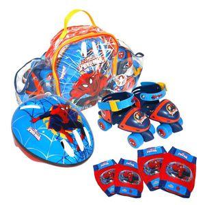 PATIN - QUAD SPIDERMAN Pack Rollers + Set de Protections et Cas