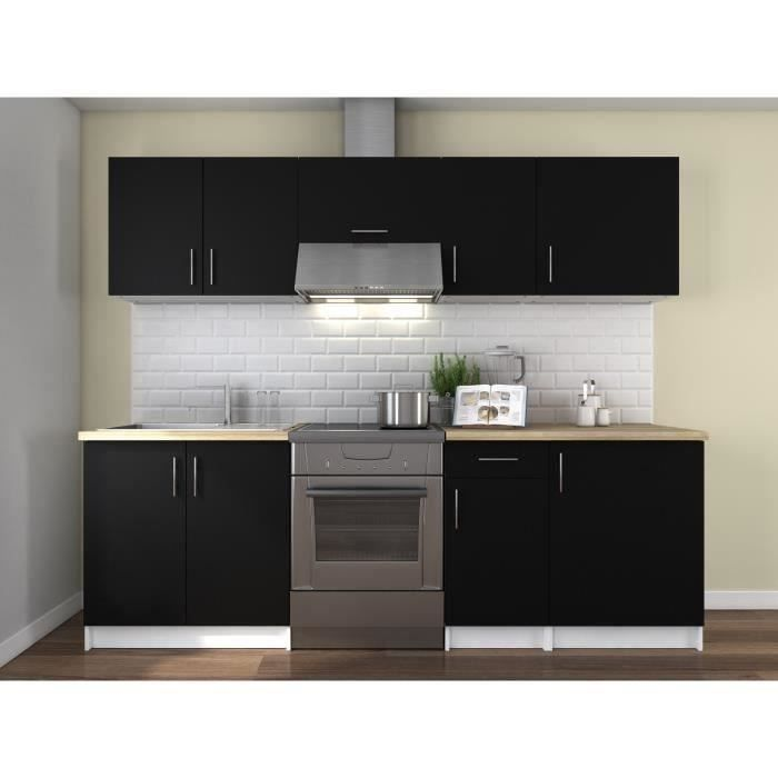 obi cuisine compl te l 2m40 noir mat achat vente cuisine compl te obi cuisine compl te 240. Black Bedroom Furniture Sets. Home Design Ideas