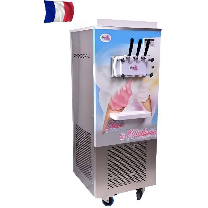 Machine à glace italienne sur roulettes - 2 parfums et 1 mixte