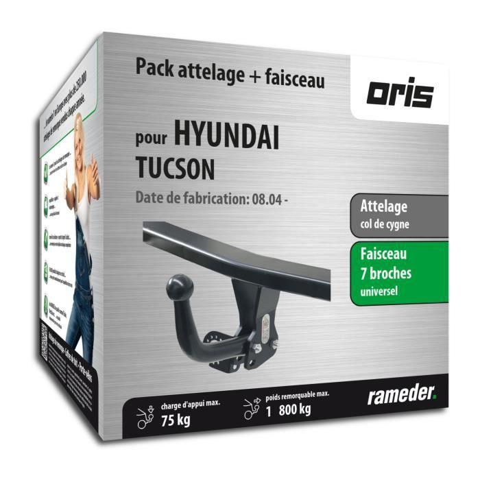 Attelage pour Hyundai TUCSON - 08/04-03/10 - col de cygne - Oris - Faiseau universel 7 broches