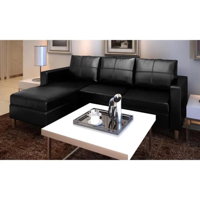 Canapé d'angle 3 places Noir Cuir Contemporain