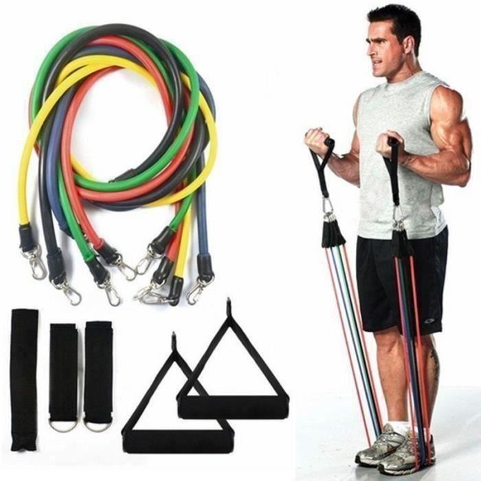 JOULLI Bande de Résistance Set, Bandes Fitness Elastiques Kit avec Crochet de Porte et Sangle de Cheville pour Pieds pour l'entraî