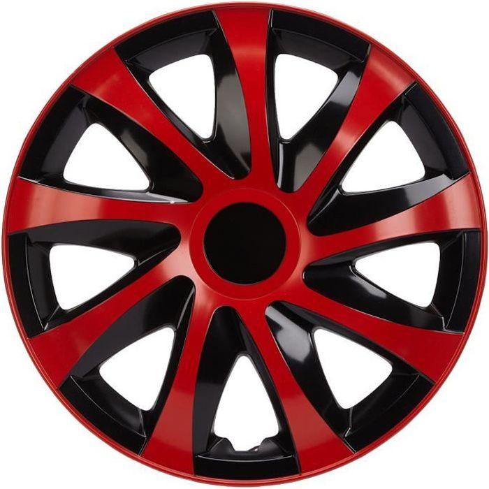 Enjoliveurs de roues DRACO CS noir-rouge 15- lot de 4 pièces