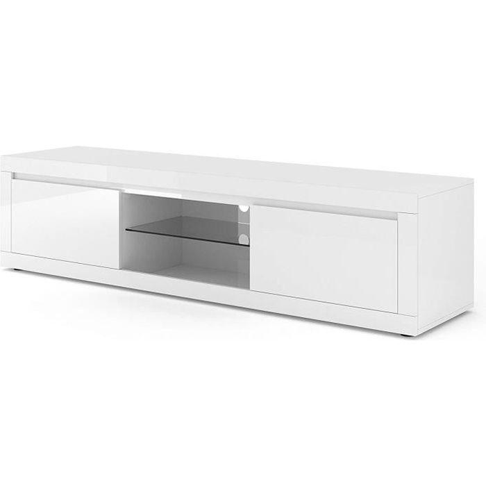 Meuble TV Como Bianco V Blanc laqué brillant 180 cm