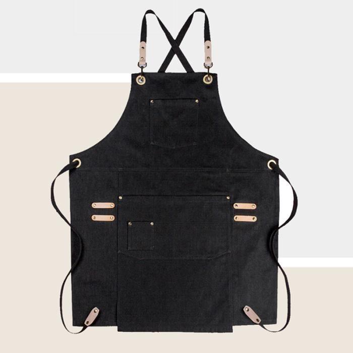 Tablier en toile noir, gris, rose et brun Uniforme de Chef pâtissier café Barista, uniforme de Chef cuisinier - Black Denim-L