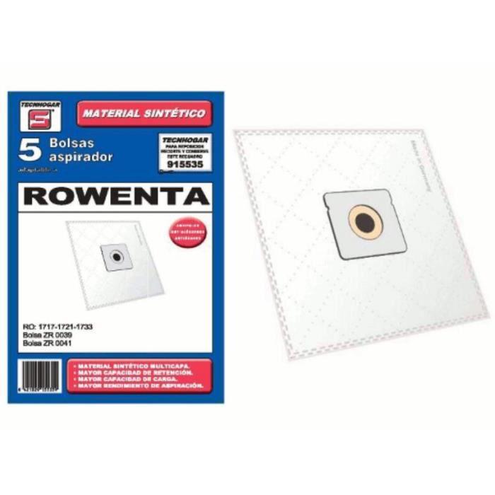 Sacs synthetique aspirateur Carrefour Moulinex Rowenta 5 UNIDADES 915535